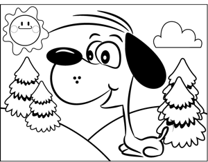 Happy Dog Barking coloring page