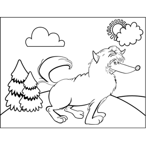 Happy Fluffy Dog coloring page