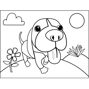 Panting Puppy Closeup coloring page