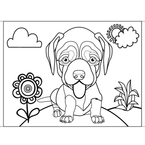 Panting Wrinkled Dog coloring page