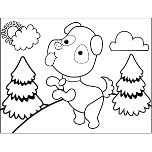 Prancing Dog coloring page