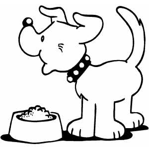 Puppy Eating coloring page