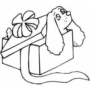 Puppy In Gift Box coloring page