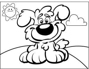 Puppy and Sunshine coloring page
