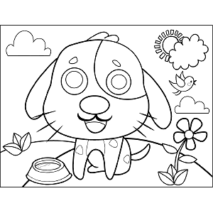 Puppy with Dish coloring page
