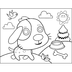 Puppy with Dish Bone coloring page