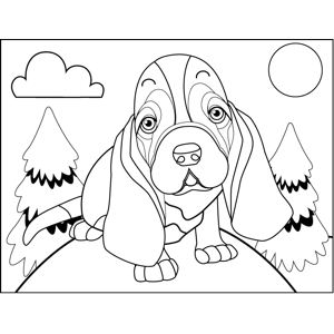 Sad Basset Hound coloring page