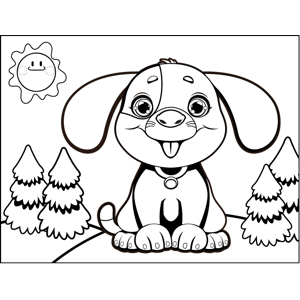 Sitting Puppy coloring page