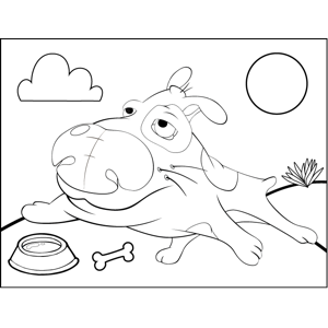 Sprawling Dog with Dish coloring page