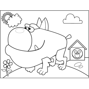 Squat Bull Dog coloring page