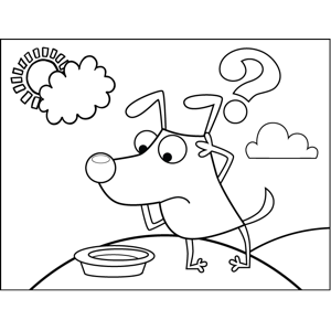 Unhappy Dog with Empty Dish coloring page