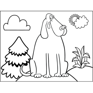 Winking Dog coloring page