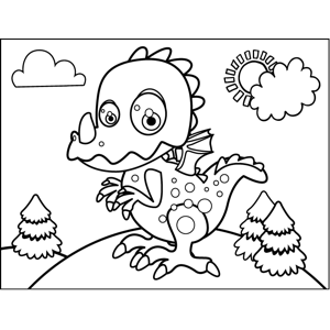 Unhappy Dragon coloring page