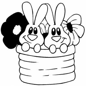 Bunnies And Flowers coloring page
