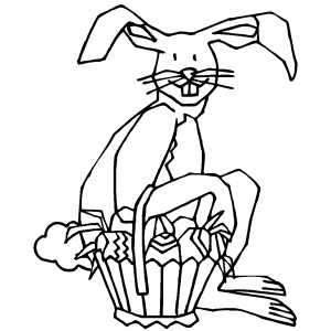 Bunny And Basket coloring page