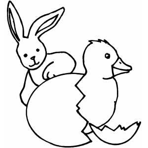 Bunny And Chick coloring page
