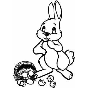 Bunny And Dropped Basket coloring page