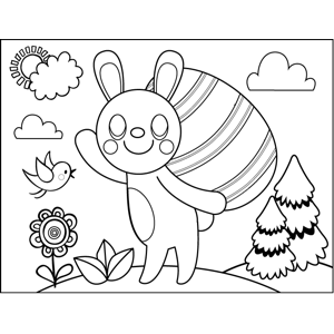 Bunny Carrying Easter Eggs coloring page