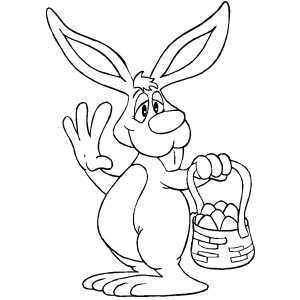 Bunny With Basket Waves Hello coloring page