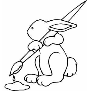 Bunny With Brush coloring page