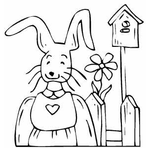 Bunny With Flower coloring page