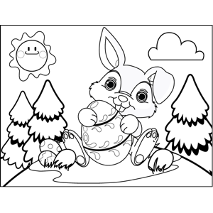 Bunny with Decorated Eggs coloring page