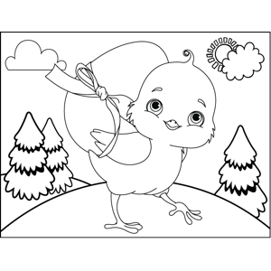 Chick Carrying Egg coloring page