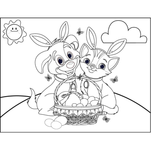 Dog Cat Easter Basket Bunny Ears coloring page