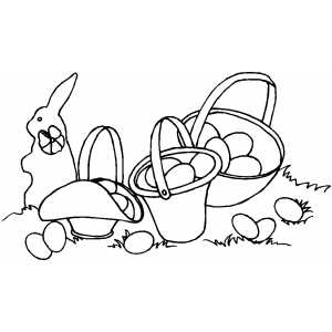 Easter Baskets And Bunny coloring page
