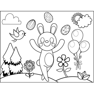 Rabbit Juggling Easter Eggs coloring page