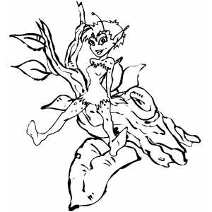 Elf On Tree coloring page