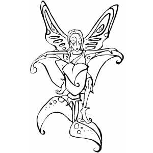 Fairy And Flower coloring page