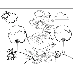 Fairy Seated on Mushroom coloring page
