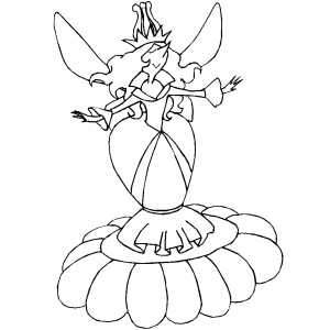 Fairy Standing On Flower coloring page