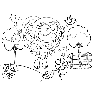 Goofy Fairy Flying coloring page