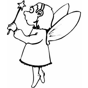 Little Fairy With Magic Wand coloring page