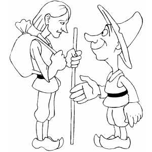 Boy Meeting Dwarf coloring page