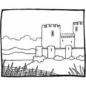 Castle Near River coloring page