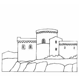 Castle Over The Mountain coloring page