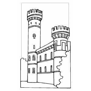 Castle With Big Tower coloring page