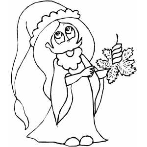Girl With Candle On Leaf coloring page