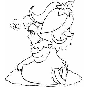 Girl With Eggplant On Head coloring page