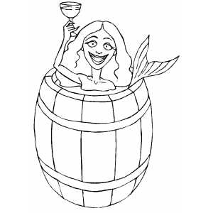 Mermaid With Wine Glass In Barrel coloring page