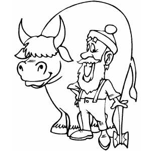 Paul Bunyan And Babe coloring page