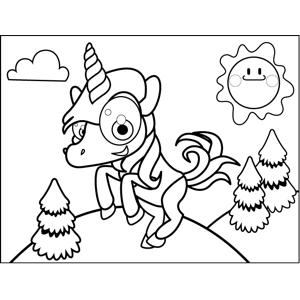 Rearing Unicorn coloring page