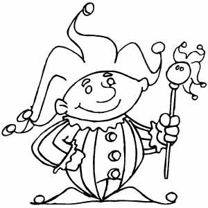 Thick Jester With Funny Stick coloring page