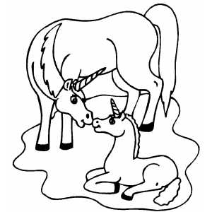 Unicorn And Foal coloring page