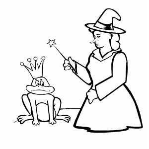 Witch And Frog coloring page