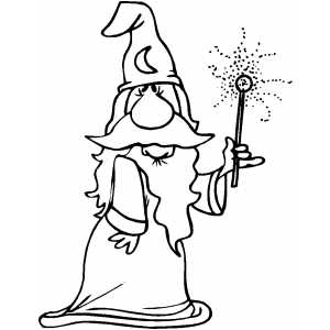 Wizard Showing Magic Wand Effect coloring page