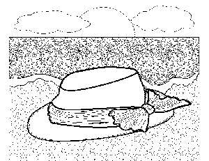 Hat on the Beach coloring page
